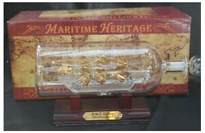 Detailed 25cm Long Model Of The Hms Victory In A Glass Bottle