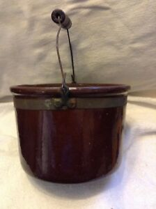 Antique Stoneware Redware Pottery Bucket W Spout And Bail Handle
