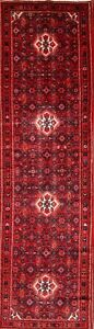 One Of A Kind Geometric 14 Runner Hamedan Persian Hand Knotted Wool Rug 4 X14