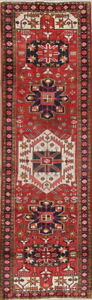 Vintage Geometric Tribal Last Long Runner Heriz Persian Oriental Wool Rug 3x11