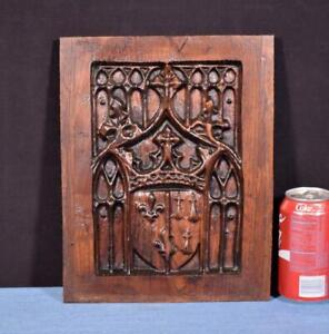 French Antique Gothic Revival Panel In Solid Chestnut Wood Salvage