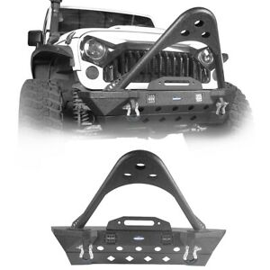 Front Bumper W Winch Plate D ring For 07 18 Jeep Wrangler Jk stinger Stubby