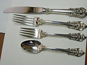 1 Grand Baroque 4 Piece Sterling Place Setting No Mono Excellent Polished Hv 7