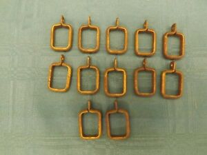 Antique Square Curtain Rod Rings Brass Drapery Small Swing Arm 12 Pc E