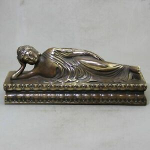 Retro Collection Antique Pure Copper Brass Sleeping Buddha Home Decoration