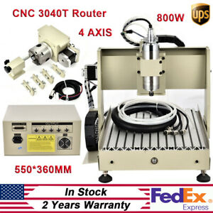 4 Axis Cnc 3040 Router Engraver Wood Milling Machine 3d Carving Drilling Kit