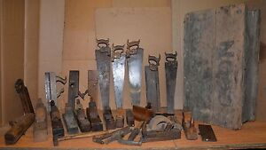 Antique Carpenters Chest Planes Saws Hammer Collectible Early Tool Box Woodwork