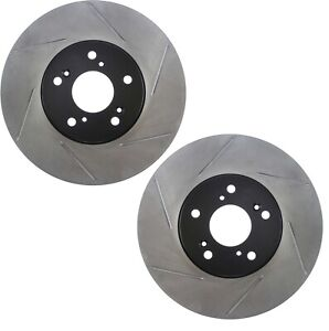 Pair Set 2 Front Stoptech Slot Disc Std Caliper Brake Rotors For Acura Tl 04 08