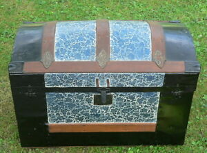 Restored Antique Camelback Dome Top Steamer Trunk