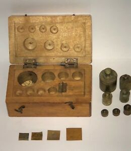 Vintage Apothecary Brass Balance Scale Set Weights Wood Box Grammes Gram