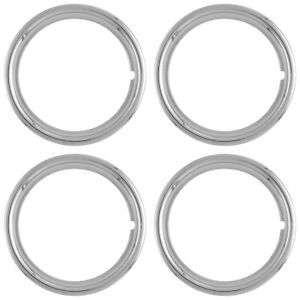 4 New 15 Chrome Steel Wheel Trim Rings Beauty Rims Glamour Ring Rim Edge Bands