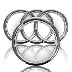 Set Of 4 18 Chrome Wheel Rim Trim Rings Beauty Bands Rims Rally Steel Wheels