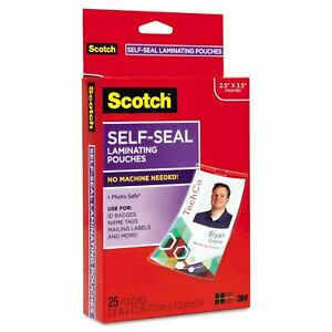 Scotch Self sealing Laminating Pouches With Clip 12 5 Mil 2 15 16 X 4 1 16