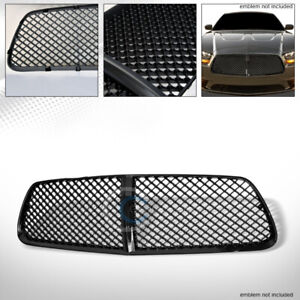 Fit 11 14 Dodge Charger Glossy Blk Mesh Front Hood Bumper Grill Grille Guard Abs