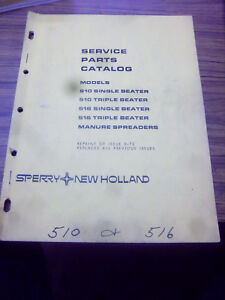 New Holland 510s 510t 516s 516t Manure Spreader Service Part Catalog Manual 1970