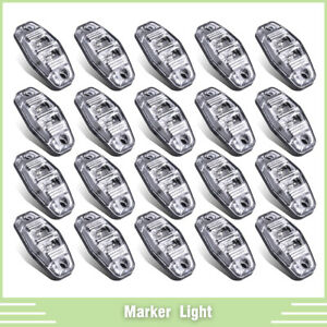 20pcs 2 5 Red 2 Led Light Side Marker Clearance Surface Mount Clear Lens Lamp