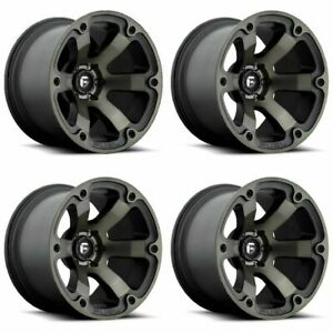 Set 4 20 Fuel Beast D564 Black Machined Dark Tint Truck Wheels 20x9 6x5 5 01mm
