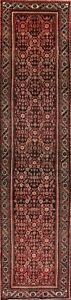 One Of A Kind Tribal Geometric Hamedan Persian Hand Knotted 3x14 Wool Runner Rug