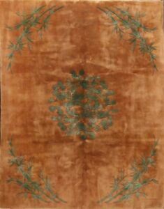 Vintage Rust Green Floral 8x10 Art Deco Peking Chinese Oriental Area Rug Carpet