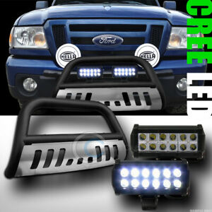 Fit 98 11 Ford Ranger Matte Black skid Bull Bar Bumper Guard 36w Cree Led Lights