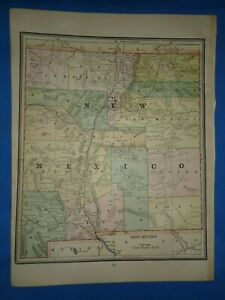 Vintage 1891 New Mexico Territory Map Old Antique Original Atlas Map 22119