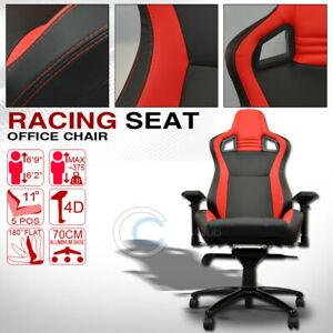 Universal Black red Stitches Pvc Leather Mu Racing Bucket Seat Office Chair Cl01