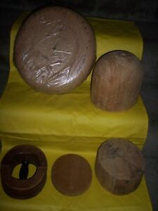 Estate Antique Millinery 5 Wood Hat Blocks Mold Brim Stretcher