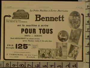 1913 Bennett Type Writer Machine Key Office Business Graphic French Ad 22917