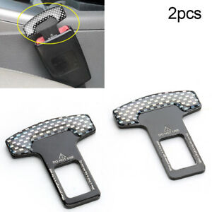 2pc Universal Carbon Fiber Car Safety Seat Belt Buckle Alarm Stopper Clip Clamp