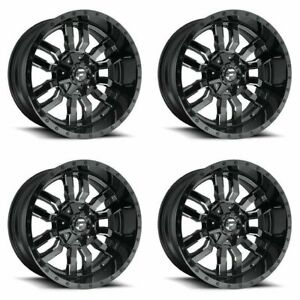 Set 4 18 Fuel Sledge D595 Black Milled Truck Wheels 18x9 6 Lug 6x135 6x5 5 19mm