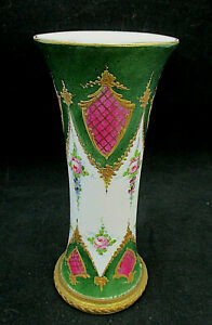 Antique French Porcelain Bud Vase Metal Base Encrusted Gold Shields Swags Roses