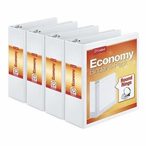 Round Ring View Binder 3 Inch White Pack Of 4 Binders Nonstick Poly Material New