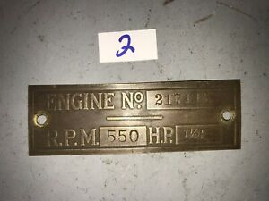 1 1 2 E Hp Brass Tag Economy Hercules Jaeger Hit Miss Tractor Auto Motorcycle