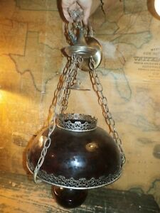 Vintage Antique Tin Metal Red Ruby Glass Hanging Ceiling Oil Lamp Light