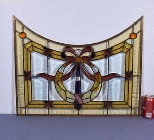 Vintage French Stained Leaded Glass Panel With Brass Frame And Beveled Glass
