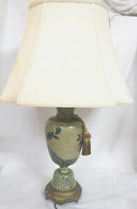 Vintage Chinese Republic Era Table Lamp Cloisonn W Bronze Base Yellow W Shade