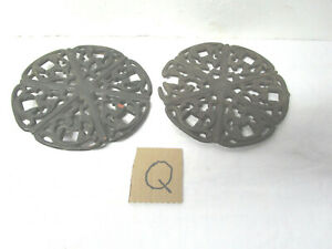 Two Antique Vintage W P Mfg Co Cast Iron Stove Top Simmering Covers