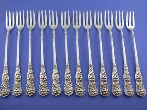 12 Sterling Reed Barton Cocktail Oyster Forks Trajan 1892 Repousse