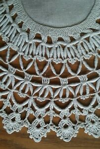 Beautiful Antique 12 Ivory Linen Doily With Coronation Cord Edging