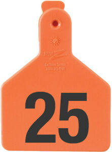 Z Tags Calf Ear Tags Orange Numbered 126 150