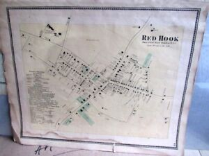 1868 Map Village Of Red Hook Dutchess County Ny From Beers Atlas Hand Colored