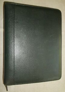 Franklin Quest Covey Classic Leather Zipper Binder Green