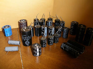 Huge Lot Of 27 Various Sizes Of Capacitors