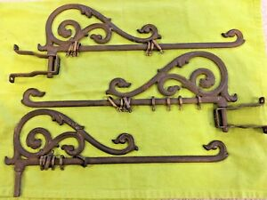 3 Victorian Iron Swing Curtain Rods With Rings But Only 2 Wall Mount Brackets