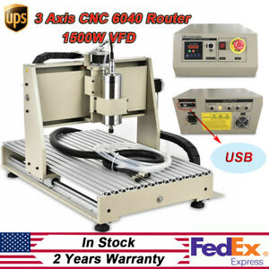 Usb 3 Axis 1500w Vfd Cnc 6040t Router Engraver Engraving 3d Mill drill Machine
