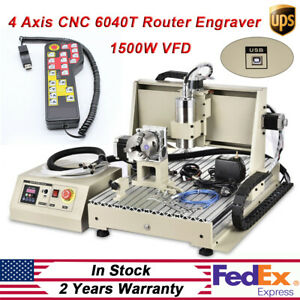Cnc 6040t 4 Axis 1500w Router Usb Engraving Diy Cutting milling Machine Kit Rc