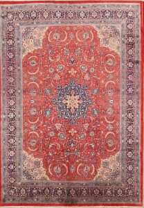 Vintage Large Floral 10x14 Sarouk Persian Oriental Hand Knotted Area Rug Wool