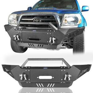 Black Steel Front Bumper W Winch Plate Led Spotlights For Toyota Tacoma 05 15