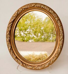 Vintage Wall Mirror Ornate Oval Wood Frame Gold Gesso