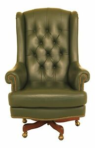 F46743ec Hancock Moore Large Green Leather Desk Chair